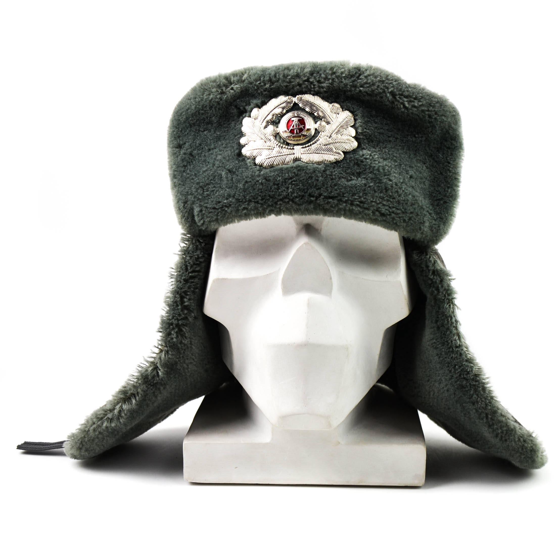 37db1d594 Original East German NVA army winter hat. Grey military ushanka hat with  badge