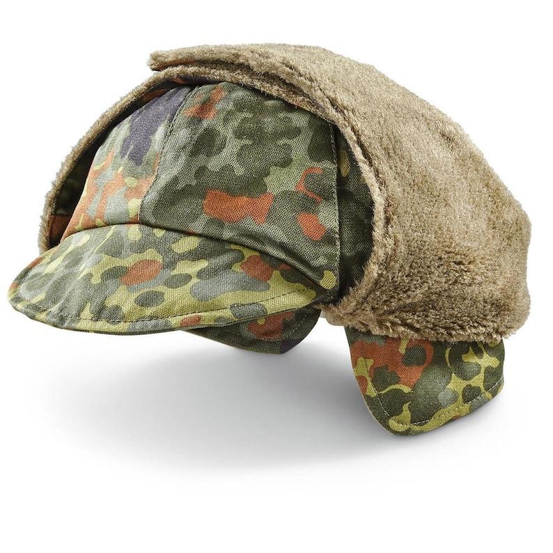 846736665ed176 Genuine German Army Military Winter Pile Cap flecktarn hat | Etsy
