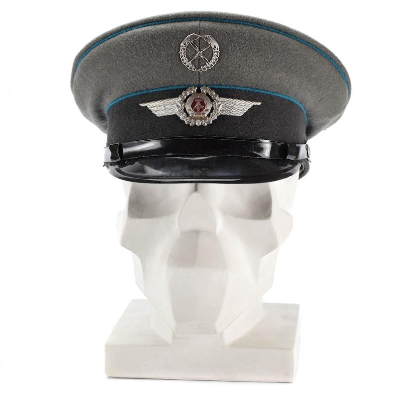 74c5aca81 Original East German NVA army visor cap. Air forces military peaked hat NEW