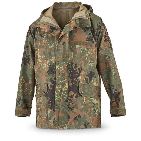 Original German army field Jacket GoreTex Flecktarn waterproof rain gear parka military surplus