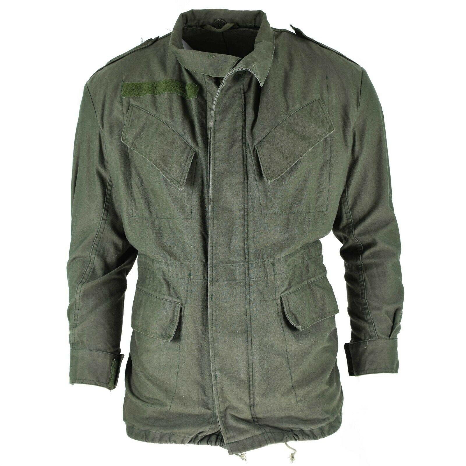 Vintage Belgian army m64 parka jacket military olive khaki cotton coat field
