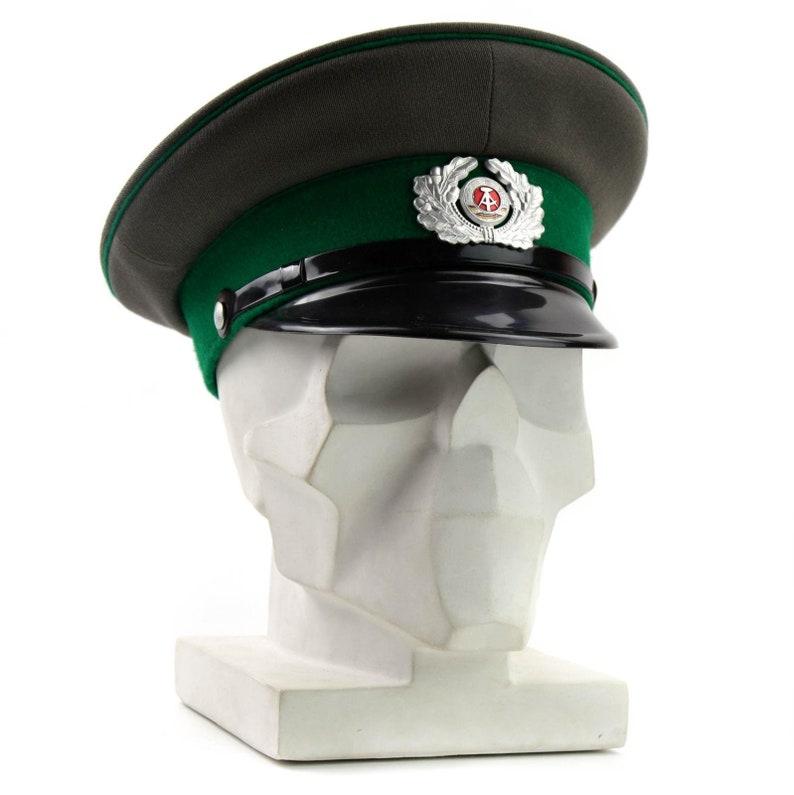 95976b266 Original German NVA army visor hat. Grey East German military peaked cap  Green