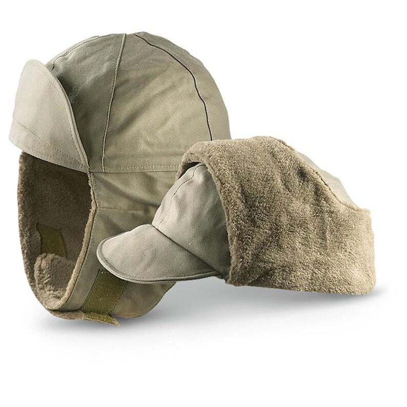 dd058a761f7 Genuine German Army Military Winter Pile Cap Olive drab OD hat