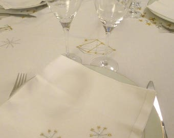 Christmas tablecloth, Christmas, gold and silver, constellations (rectangle)