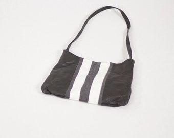GL Crafts: Leather Handbag, Black, White, Handmade