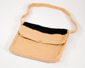 Crochet Laptop Carrier, Beige, Black