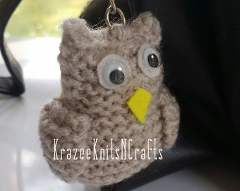 Owl Keyring, Brown, Knitted, Cute, Bag Charm, Novelty