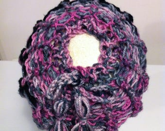 Adjustable Adult/Teen  Messy Bun Hat - Pinks/Grays & Black