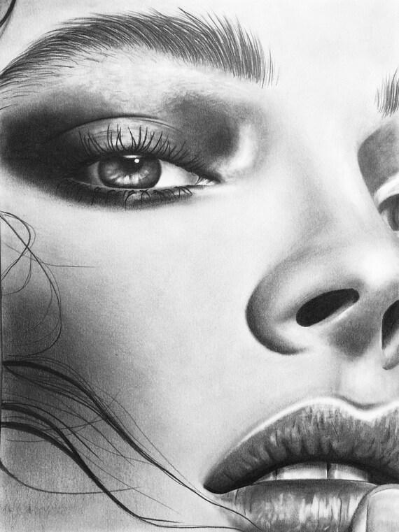 Frau Gesicht Zeichnen Etsy