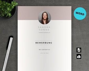 Bewerbung Vorlage Deckblatt Lebenslauf Anschreiben Für Word Etsy