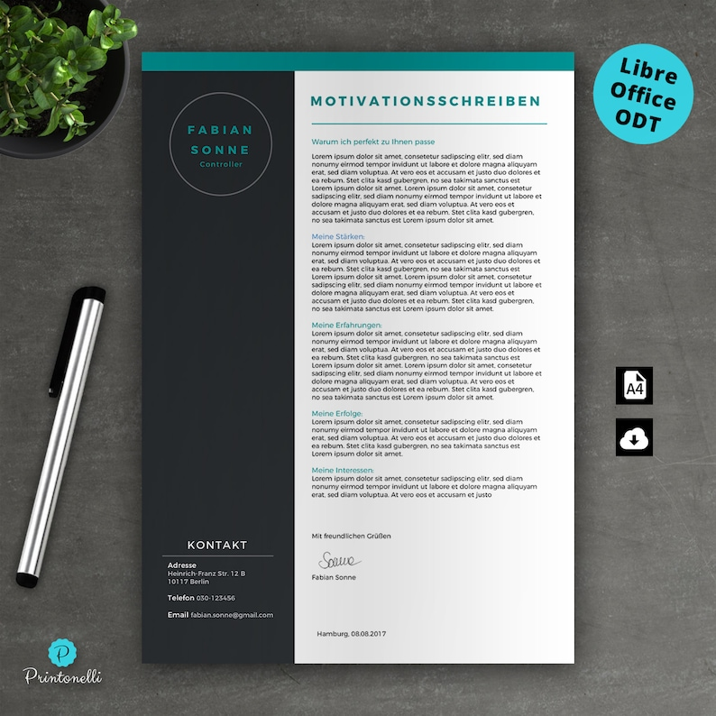 3.1 Turquoise CV No A4 Mac /& PC motivation LibreOffice cover letter Application template : cover page