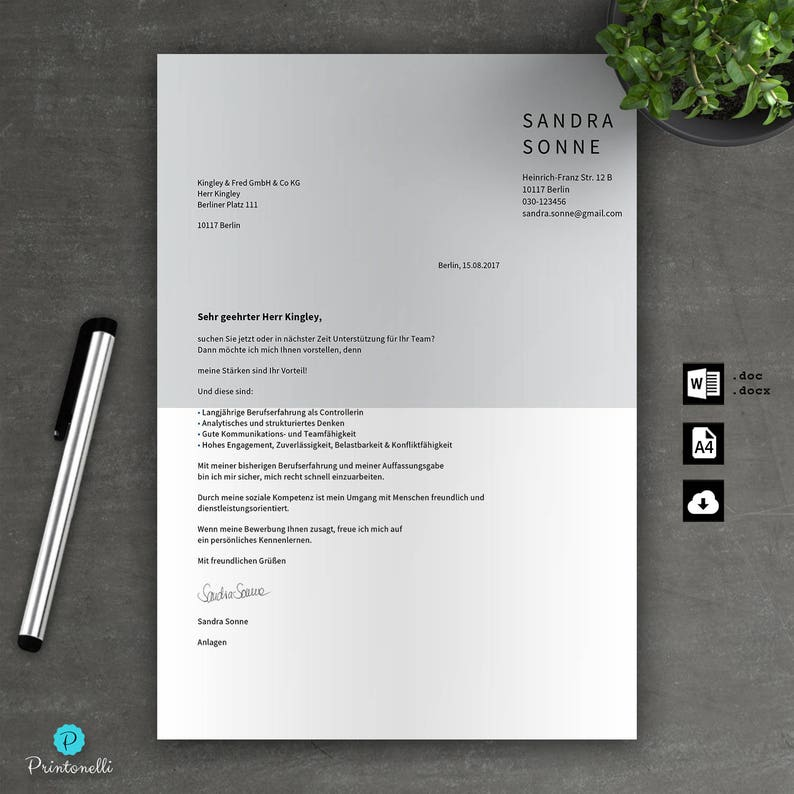 Application Template Cover Sheet Cv Letter For Word Din A4 Etsy