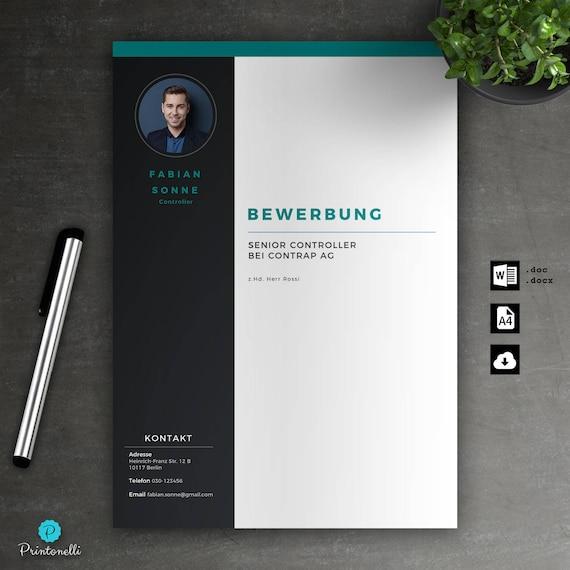 Bewerbung-Vorlage: Deckblatt Lebenslauf Anschreiben für Word