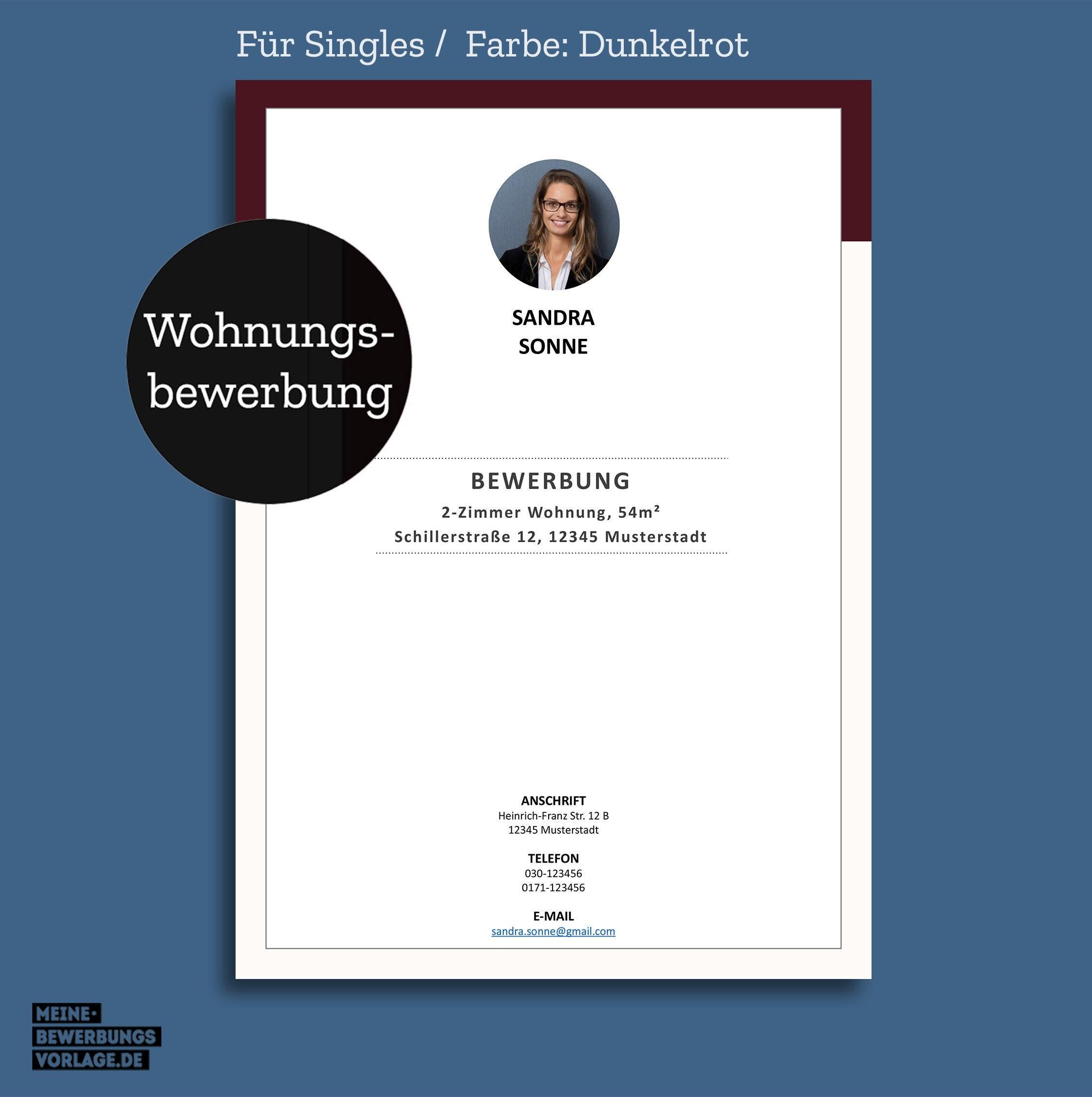 Muster single wohnung bewerbung Bewerbungsschreiben für