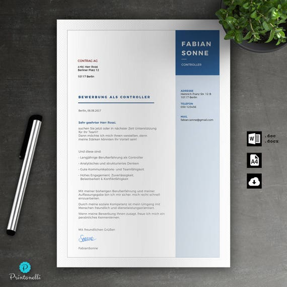 Application template: Cover sheet, CV, cover letter for Word | Instant  digital download | Mac or Pc//No. 8.1. Blue