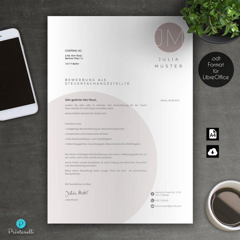 Application template 7.3 Rose LibreOffice Mac /& PC CV motivation No A4 : cover page cover letter