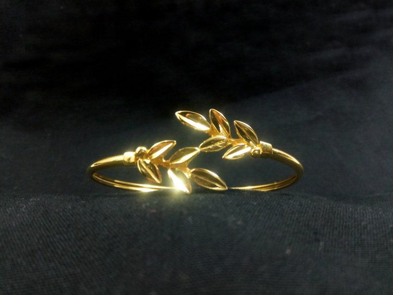 Silver Greek Gold Plated Jewelry Bracelet Bijoux Grecque Sterling Silver 925 Greek Olive Leaf Leaves Gold Plated 22K Bangle Cuff Bracelet