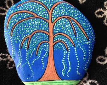 Weeping Willow Tree Hand Painted Rock