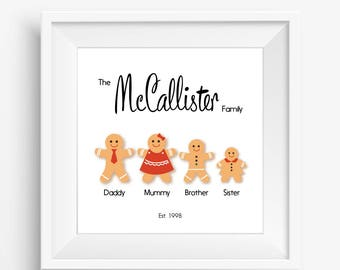 Gingerbread Family Character Print
