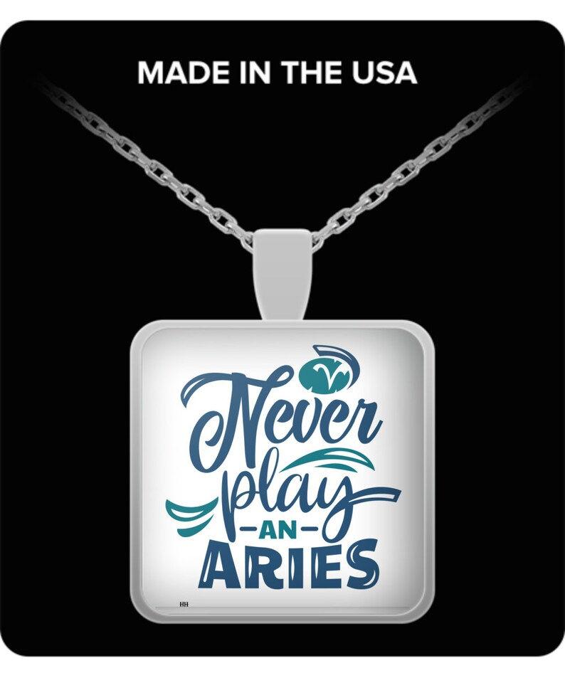 Never play an aries sq. necklace image 0