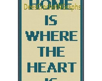 Zuhause Ist Wo Das Herz Ist C2c Häkeln Werfen Block Muster Etsy