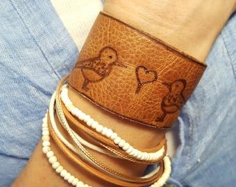 Leather Cuff - Love Birds