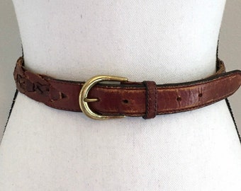 70s Brown Leather Studded Circle Belt     VG3273