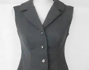 Vintage 1960s 1970s Dark Gray Vincenti Women's Vest, Vintage Vincenti Vest, 1960s Gray Women's Vest, 1970s Gray Women's Vest, Vincenti Vest