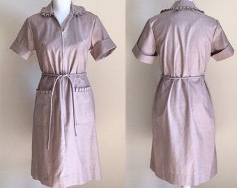 7ada5ba92b9d 1950s Waitress Style Dress,1950s Shirt Dress,Vintage Waitress Dress,Vintage  Shirt Dress,Dress with Ruffle Collar,50s Belted Dress,60s Dress