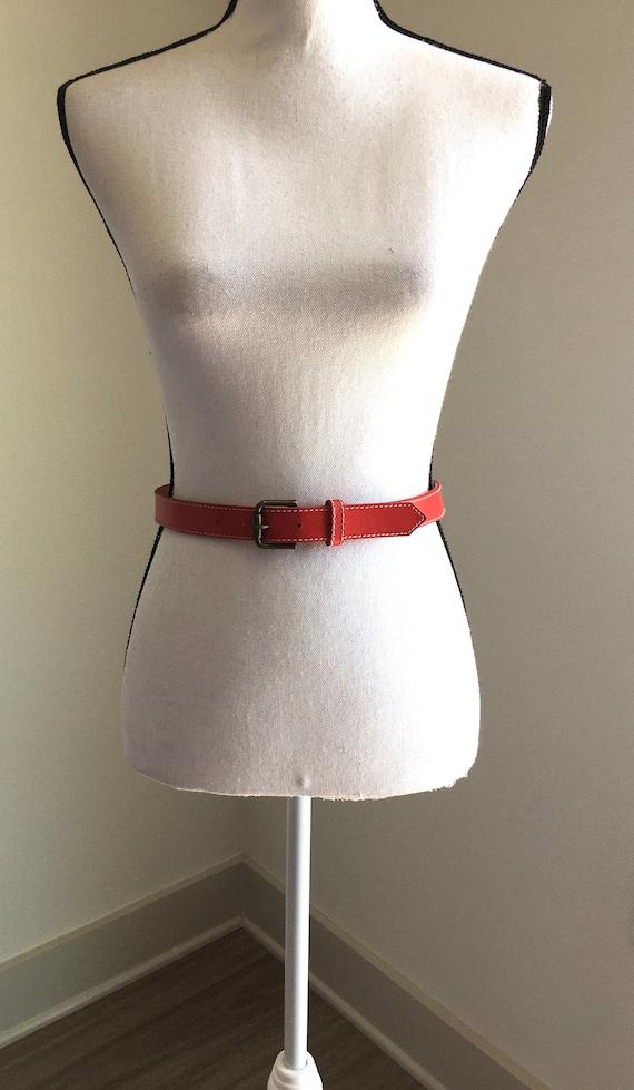 Vintage LizWear,1980s Red Leather Belt,1980s Slim