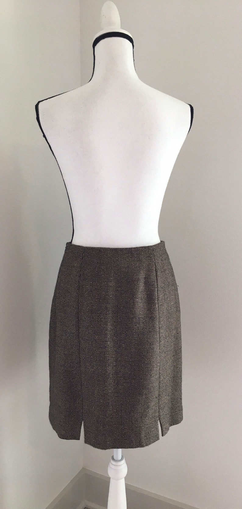 Vintage Bentley Arbuckle,1980s Brown Tweed Skirt,Vintage Brown Wool Skirt,1980s Wool Blend Skirt,Vintage Knee Length Skirt