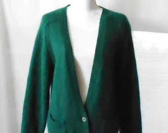 Vintage 1980s 1990s Penbrooke Lane Forest Green Cardigan, Vintage Penbrooke Lane Cardigan, Vintage Penbrooke Lane Sweater, 1980s Sweater