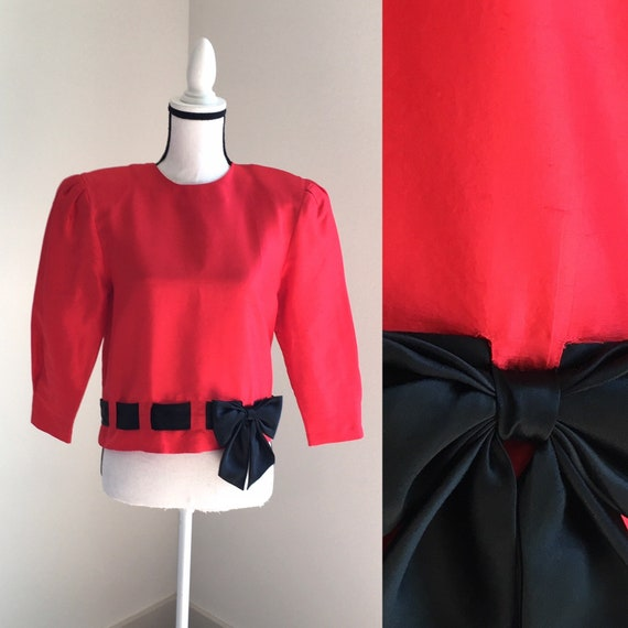 Vintage CHAR,1980s Formal Blouse,1980s Red Silk Bl