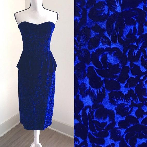 Vintage Beje Ltd,1980s Strapless Dress,1980s Velve