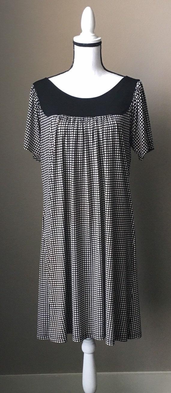 Vintage Max Studio,1990s Polka Dot Dress,1990s Black and White Dress,1990s Short Sleeve Dress,Dress with Flutter Sleeves
