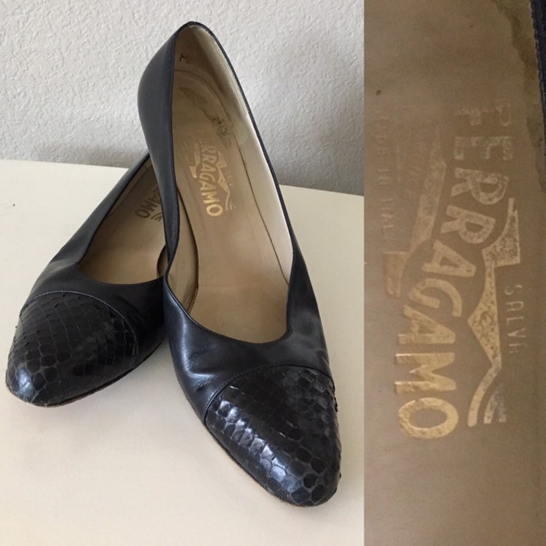 5286e63e5f47a Vintage Salvatore Ferragamo Shoes,1980s Ferragamo Pumps, 80s Snakeskin  Pumps, 80s Black Heels, 1980s Black Designer Heels,Size 9.5 Pumps