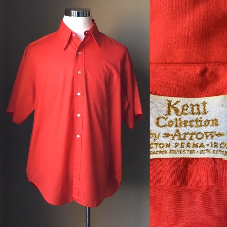 1960s – 70s Men's Ties | Skinny Ties, Slim Ties Vintage Kent Collection By Arrow, 1960S Red Short Sleeve Button Down Shirt, 1960S Cotton Mens Shirt, Vintage Oxford Shirt $22.00 AT vintagedancer.com
