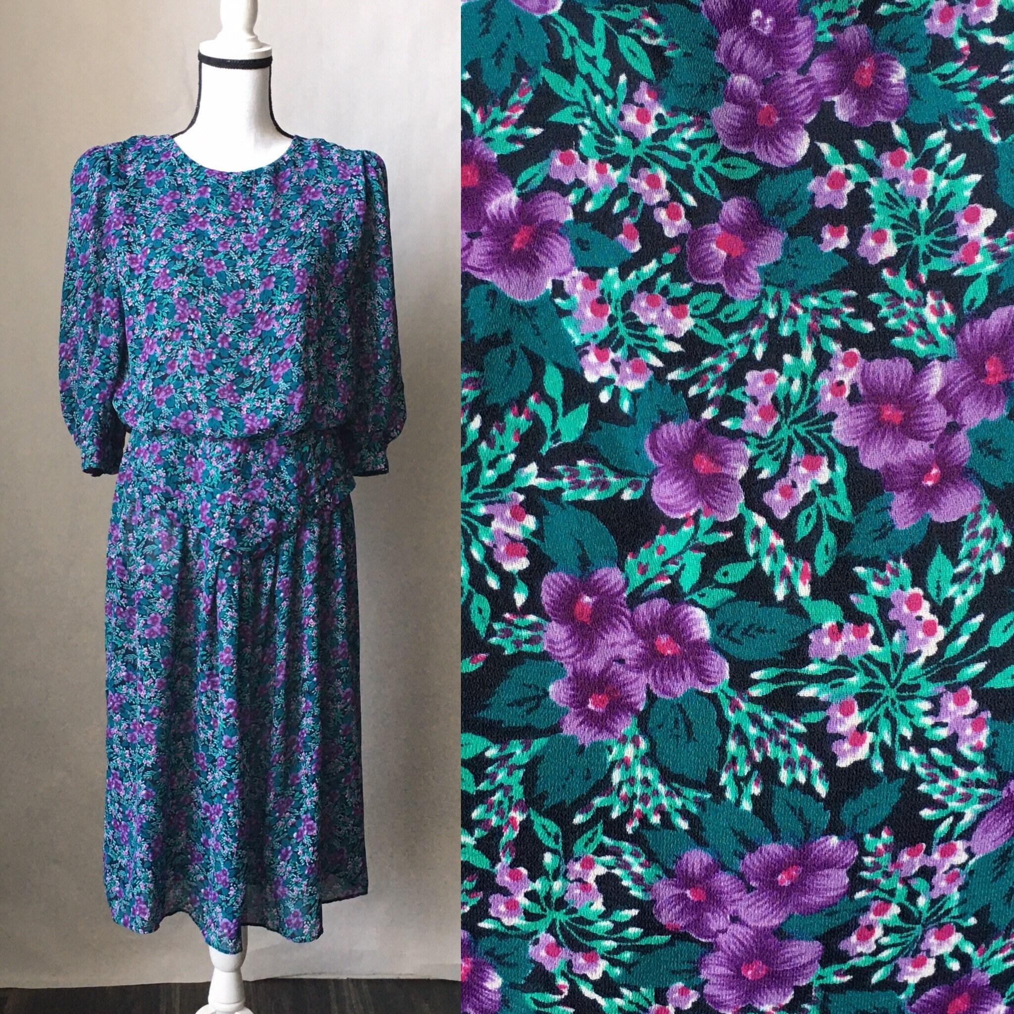 80s Dresses | Casual to Party Dresses Vintage Caroline Wells Collection, 1980S Long Sleeve Floral Dress, 1980S Blouson Style Dress, Vintage Purple Dress $25.00 AT vintagedancer.com