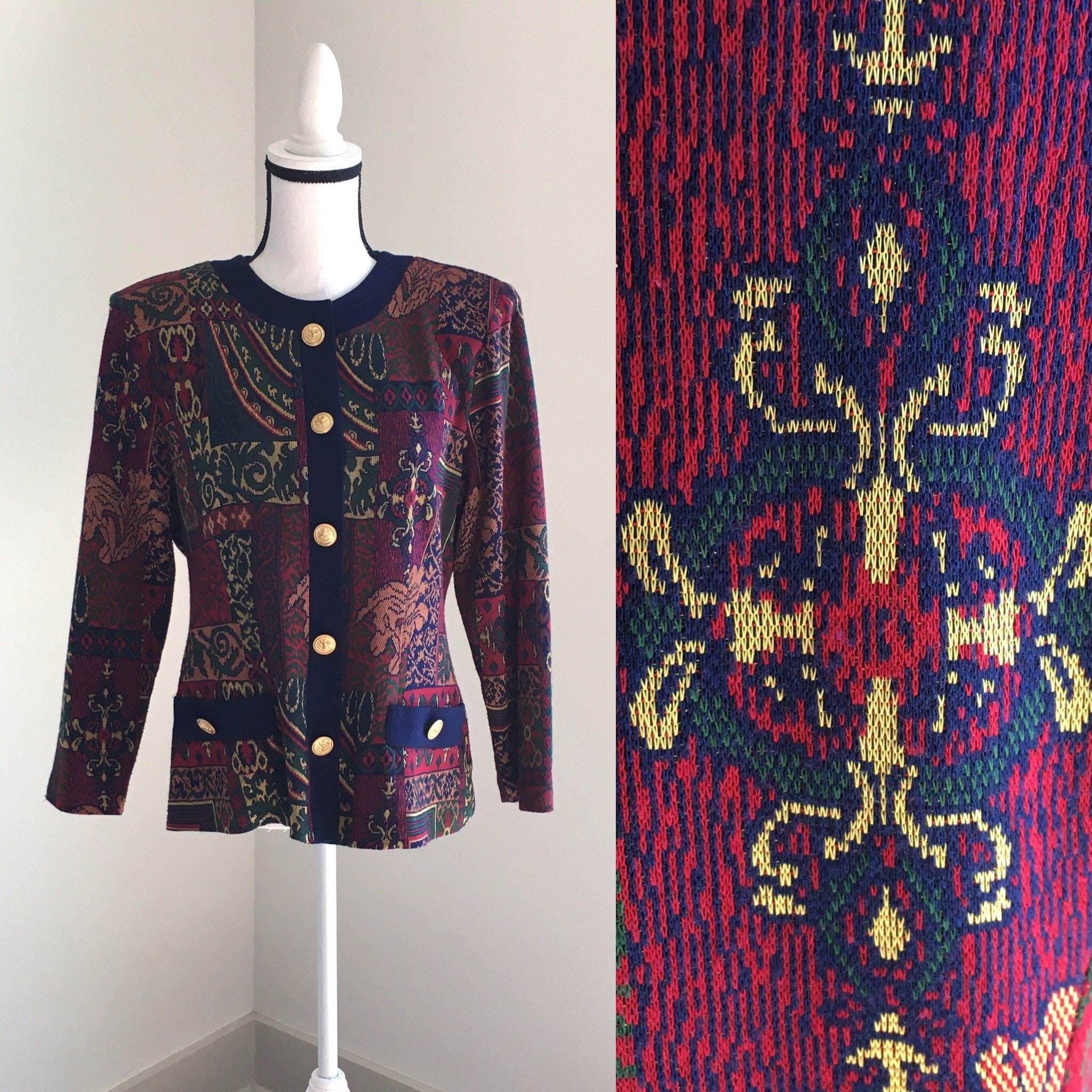 80s Sweatshirts, Sweaters, Vests | Women 1980S Sweater Blazer, 1980S Cardigan Jacket, Vintage Baroque Sweater, Vintage Blazer, Gold Lion Crest Buttons $30.00 AT vintagedancer.com