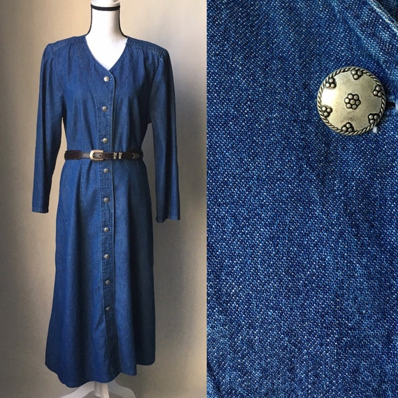 Vintage Stephanie Thomas,1980s Denim Prairie Dress
