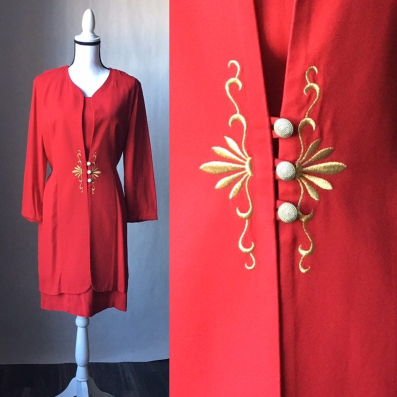 Vintage DJ /& Co,Vintage Dawn Joy,1980s Red and Gold Dress,1980s Layered Dress,Vintage Red Dress with Gold Embroidery,Vintage Holiday Dress