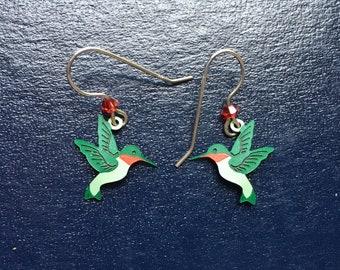 Vintage Inspired Colorful Metal Hummingbird Dangle Earrings, Adorable Hummingbird Earrings, Green and Red Hummingbird Dangle Earrings