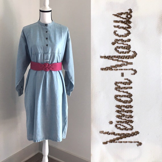 Vintage Calvin Klein,1990s Denim Dress,Vintage Den