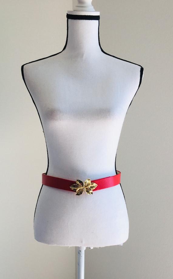 1980s Red Leather Belt,Vintage Belt with Unique Bu
