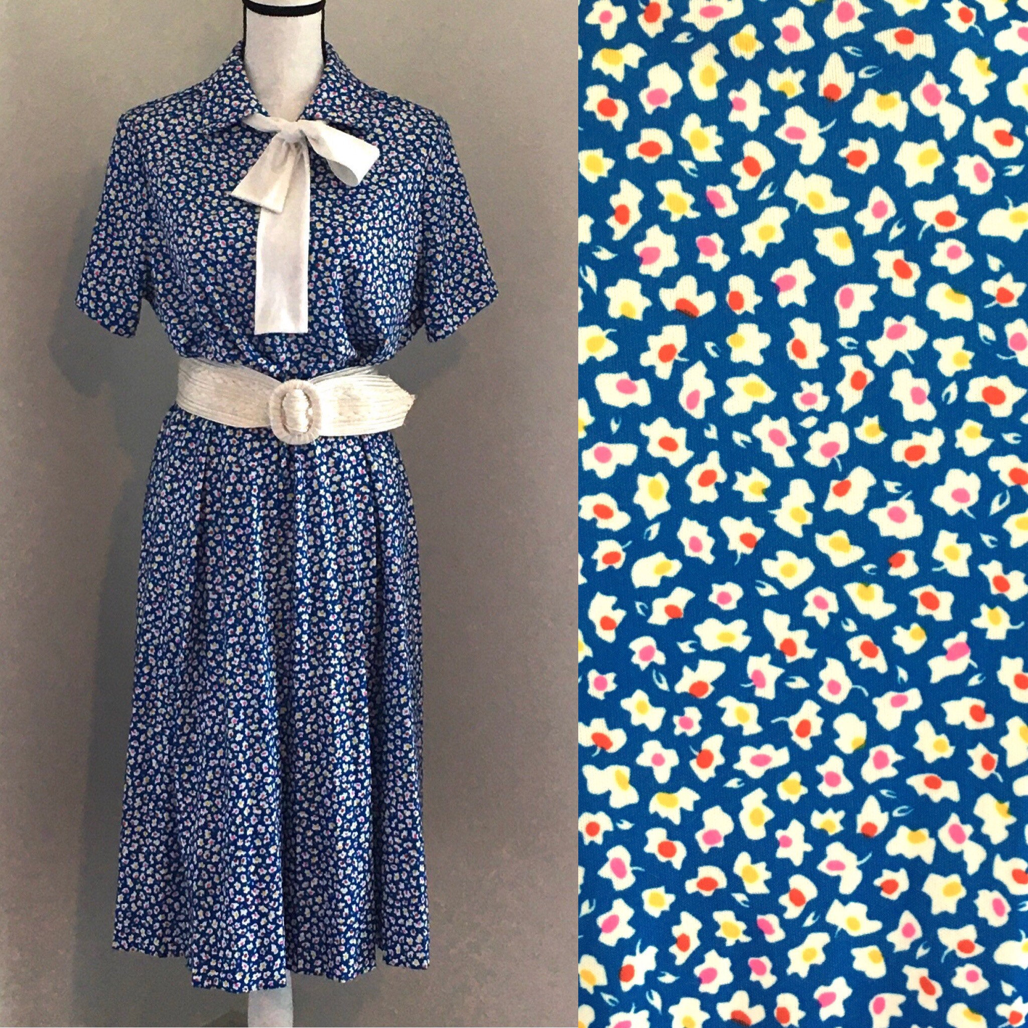 Vintage Scarf Styles -1920s to 1960s Vintage Kenley Casuals, 1960S Blue Floral Dress, 1960S Dress With Tie Collar, Vintage Plus Size Dress, Vintage Collar $25.00 AT vintagedancer.com