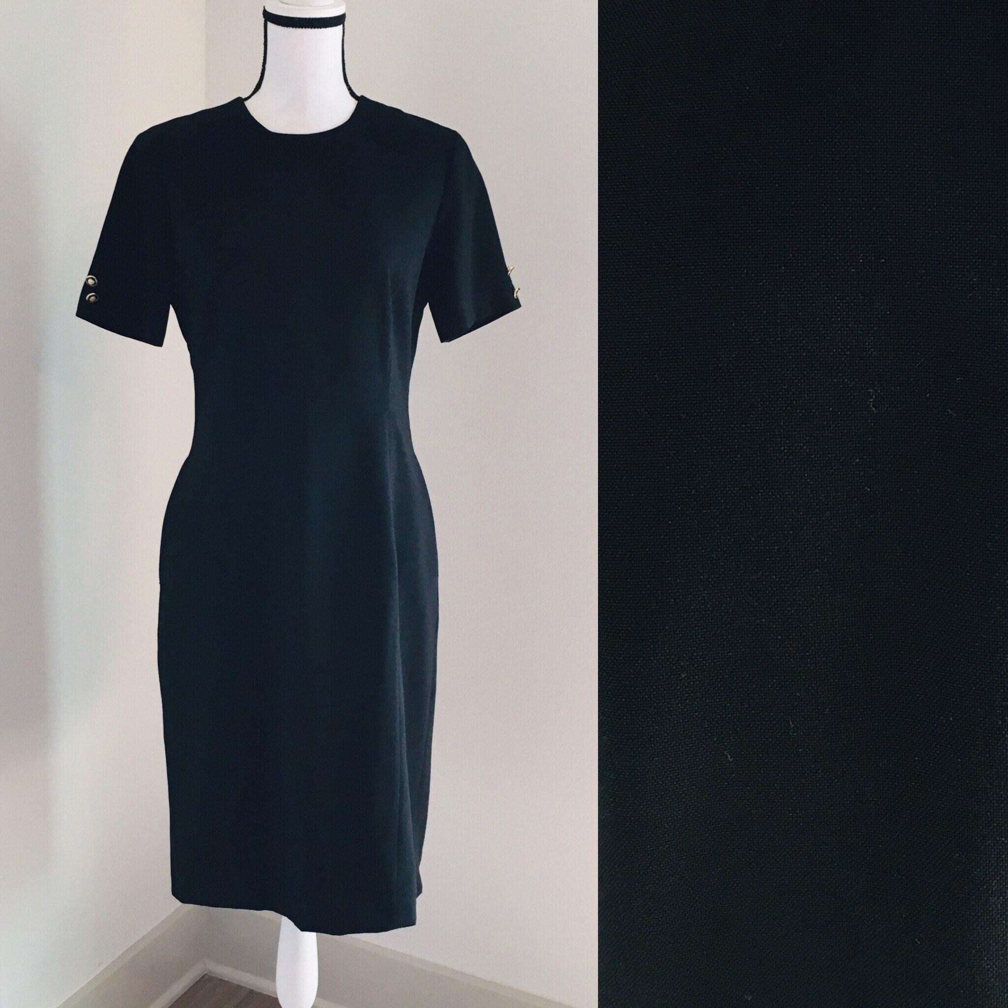 80s Dresses   Casual to Party Dresses Vintage Uty, 1980S Black Dress, Vintage Little Short Sleeve Dress, 1980S Simple Wool Classic Dress $25.00 AT vintagedancer.com