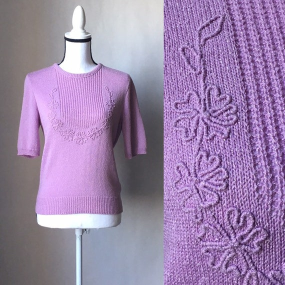 Vintage Dalton,1960s Lilac Purple Sweater,1960s Sh