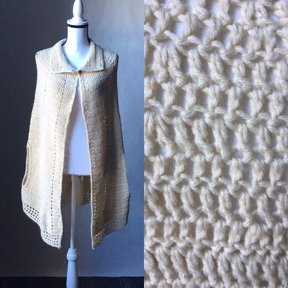 Vintage Handknit Cape,1970s Ivory Knit Shawl,1970s
