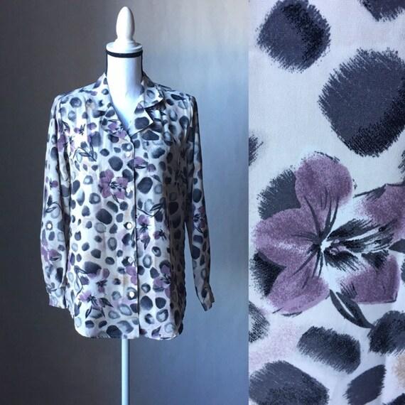 Vintage Jordan, 1990s Floral Blouse,1990s Long Sle