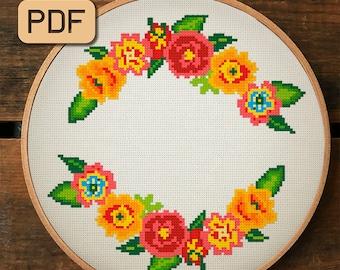 Flower Border Cross Stitch Pattern, Floral Wreath Cross Stitch Pattern Pdf, Cute Cross Stitch Design